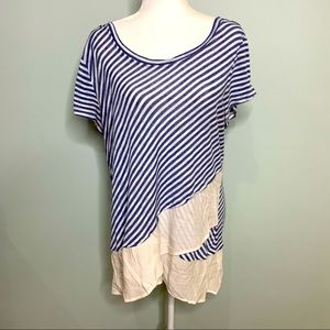 NY Collection Mixed Media Stripe Top Size 1X